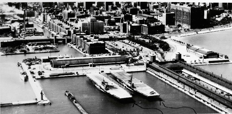 US Navy Pier, Chicago, Illinois, during WWII. USS Wolverine (on left) alongside USS Sable.